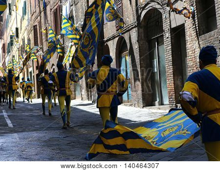Drums And Flags Parade, Piazza Del Campo, Siena, Italy