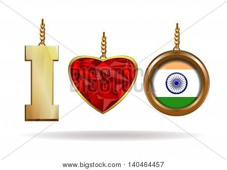 I love India. Patriotic jewelry. Red Diamond heart in a gold frame. Gold medallion with the Indian flag inside. Vector illustration