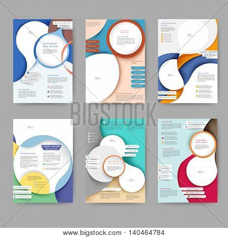 Abstract colored brochure template with abstract lines and waves for your business