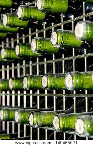 detail of wine bottles at a cellar