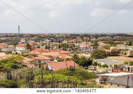 Colorful houses on the arid yet tropical island of Aruba