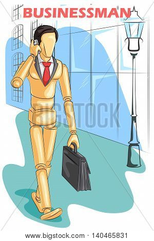 Wooden human mannequin Businessman talking on phone . Vector illustration