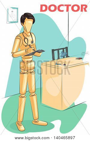 Wooden human mannequin Doctor in clinic . Vector illustration