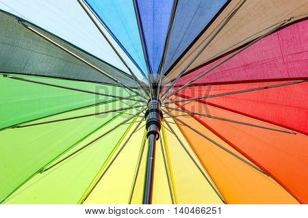 Umbrella of various colors having spokes and shaft