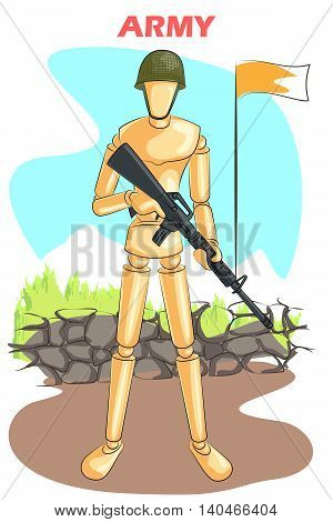 Wooden human mannequin Army with gun standing on border. Vector illustration