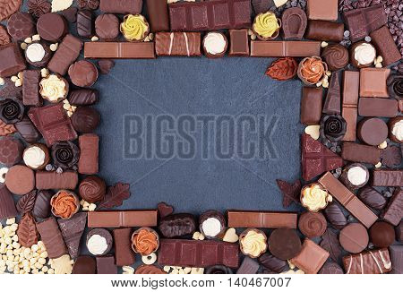 Frame from many of chocolates with copy space. View from above