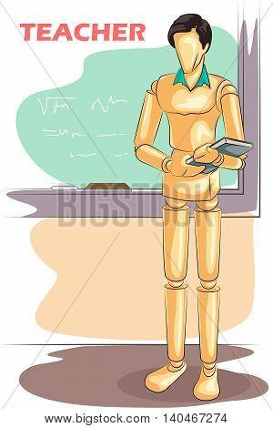 Wooden human mannequin Teacher in classroom. Vector illustration