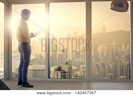 Businessman inside a skyscraper
