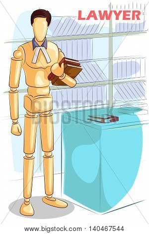 Wooden human mannequin Lawyer with Law book. Vector illustration