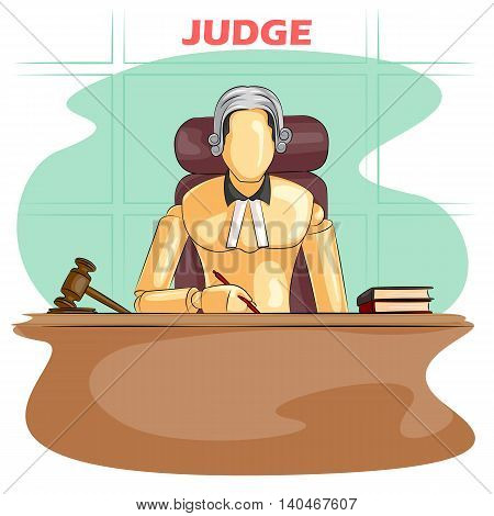 Wooden human mannequin Judge in courtroom. Vector illustration