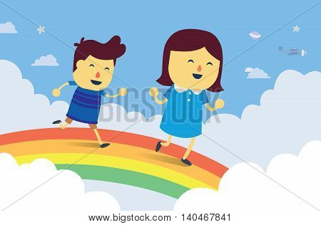 Boy and girl play chasing on rainbow bridge in the sky. This is fantasy concept about kid