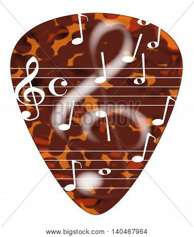 A typical tortoise shell plectrum isolated on a white background with musical notes