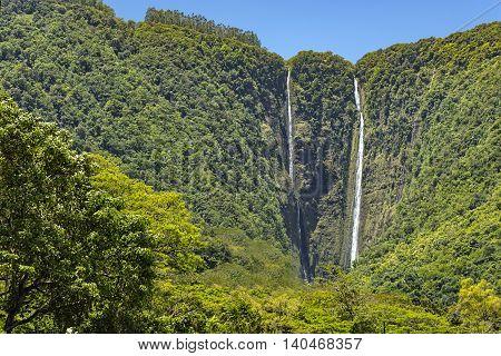 Waipio Falls in a tropical rainforest in the Waipio Valley Big Island Hawaii