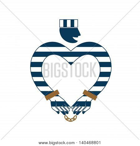 Online Dating. Flat isolated vector illustration. Prisoner in striped uniform