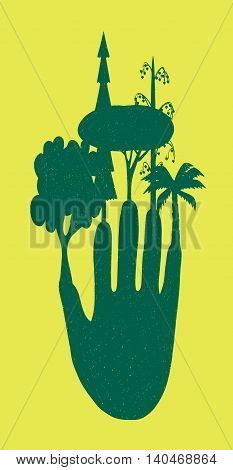 Fingers trees on a yellow background. Cute funny  color vector illustration