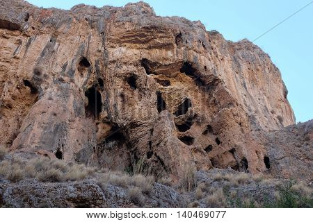 Prehistoric caverns in Nahal Amud National park Israel.