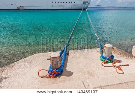 Looking down the Mooring Lines at Bow of Large Ship