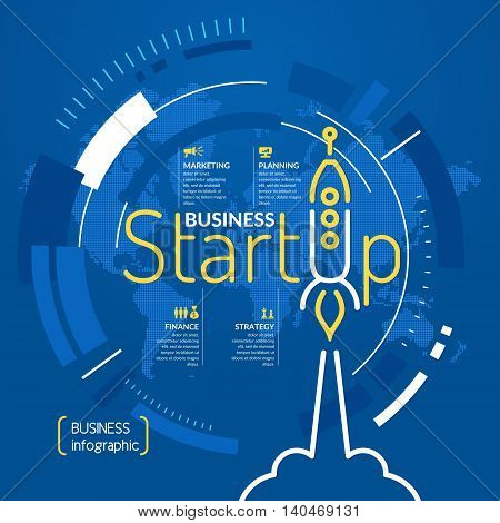 Start up. Income and success. Business infographics. Icons and illustrations for design website poster advertising
