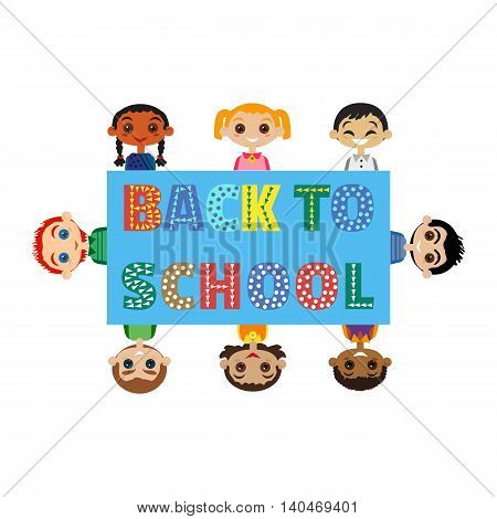 Back to school banner concept. Idea for typography welcome poster with cute characters in frame. Happy kids of differebt nations. Invitation to elementary school background. Vector illustration