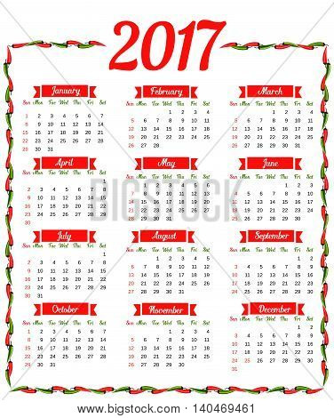 2017 Calendar. Template Calendar Vector & Photo | Bigstock