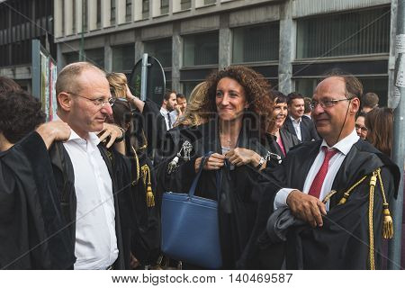 MILAN ITALY - JULY 27 2016: Italian lawyers demonstrate against president Erdogan in support of their Turkish colleagues.