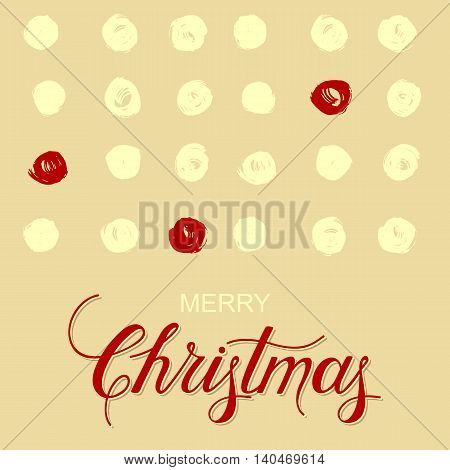 vector holiday background with grunge cirlces and hand drawn words merry christmas