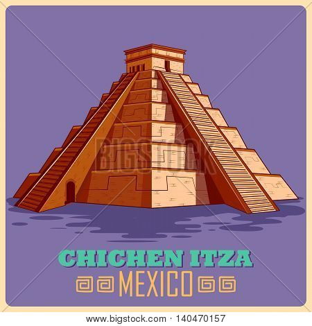 Vintage poster of Chichen Itza in Mayan, famous monument of Mexico. Vector illustration