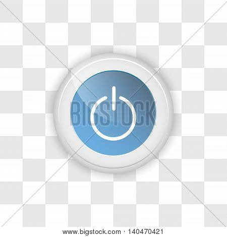 Web button power on a transparent vector background.