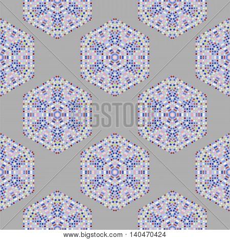 Creative Ornamental Mosaic Seamless Grey Pattern. Geometric Decorative Background