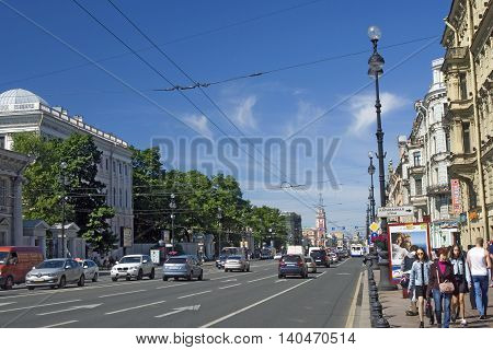SAINT-PETERSBURG RUSSIA - JUNE 10 2015: View of Nevsky prospect in historical city center of Saint-Petersburg Russia in summer. Popular touristic landmark.