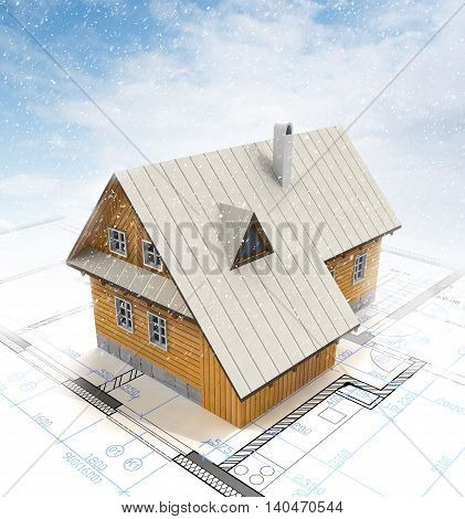 Architectural 3D background with a building model with snow. Part of architectural project, architectural plan, technical project, drawing technical letters, architecture planning on paper, construction plan