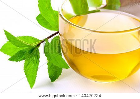 Glass of fresh brewed spearmint herb tea