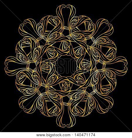 Abstract floral design element in golden colors over black