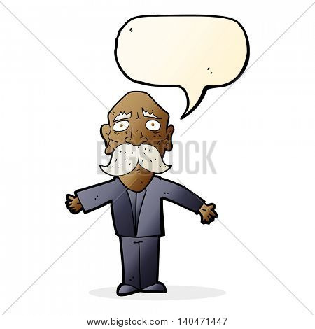 cartoon disappointed old man with speech bubble