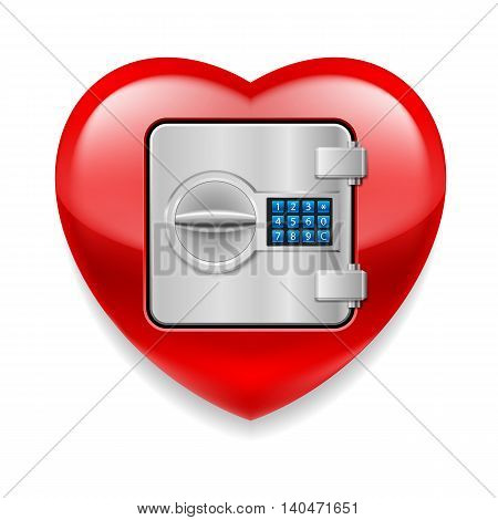 Glossy red as a safe with electronic lock. Love or life in safe