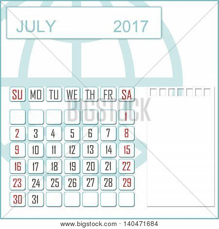 Abstract design 2017 calendar with note space for july month