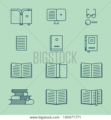 Book thin line icons. Vector book signs and symbols. Universal icon set.