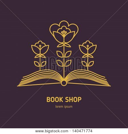 Vector logo for bookshop, mockup of sign literature store. Line style icon