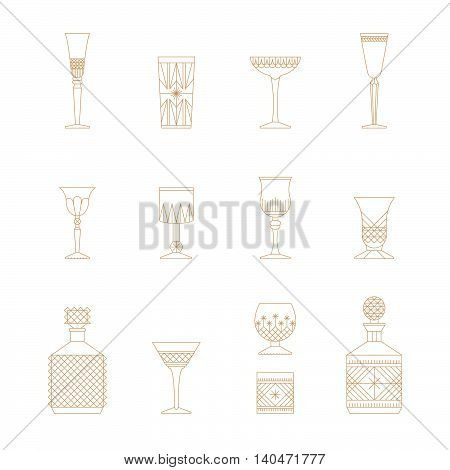 Flat style crystal glass vector icon set. Thin lines web icons set. Champagne wine cogniac coctail ale vodka irish cream liquor whiskey bourbon brandy calvados. Bar cafe restaurant collection.