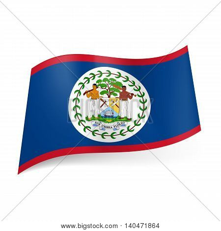 National flag of Belize: blue field with red upper and lower border with coat-of-arms in centre