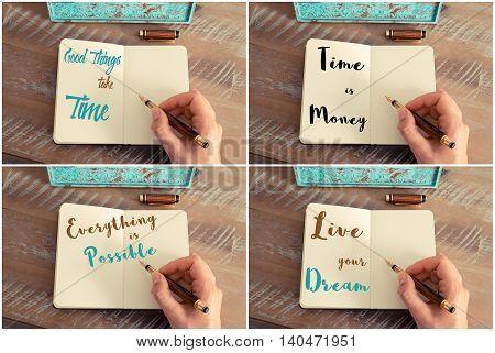 Photo Collage Of Handwritten Motivational Messages