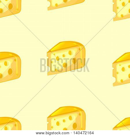 Cartoon cheese pieces. Bright seamless pattern. Vector illustration.