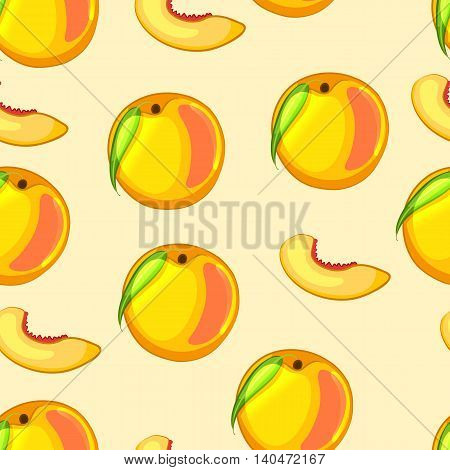 Cartoon peach and cut pieces. Bright seamless pattern. Vector illustration.