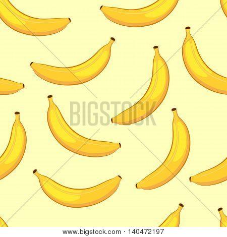 Cartoon bananas on a yellow background. Seamless pattern. Vector illustration.