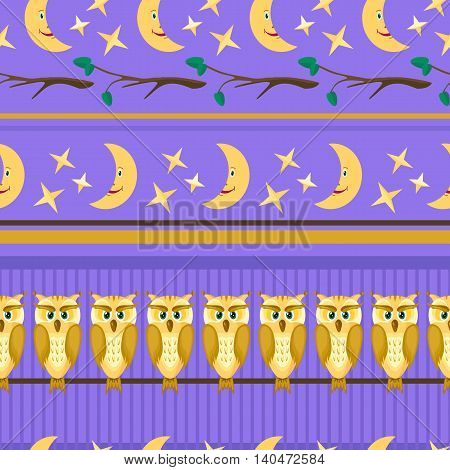 Yellow owl with brown feathers and green eyes, branches with the leaves.Lilac seamless pattern with birds on a night sky with moon and stars. illustration.Suitable for textiles, fabrics,
