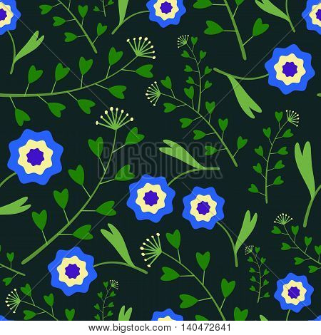 Seamless pattern with blue flowers and green grass on a dark background.Leaves heart-shaped.Bright summer patterns.Vector illustration for fabric, textile, scrapbooking, wrapping paper.