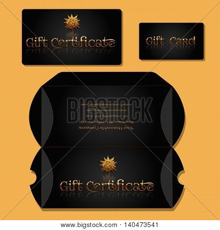 Flat identity mock-up template of Gift Certificate Gift Card Gift Certificate Box. Idea for design of coupon voucher gift wallet. Vector Illustration.
