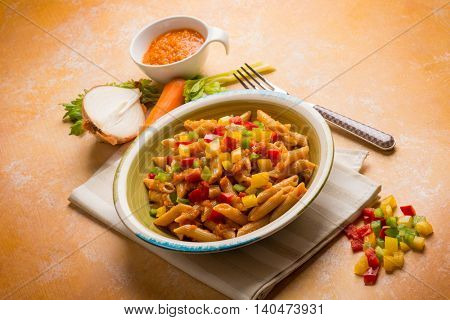 Pasta with mixed vegetables ragout