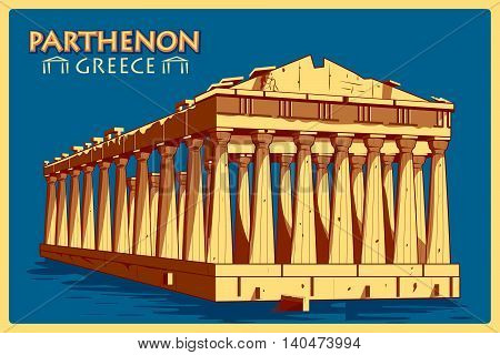 Vintage poster of Parthenon in Athens, famous monument of Greece. Vector illustration