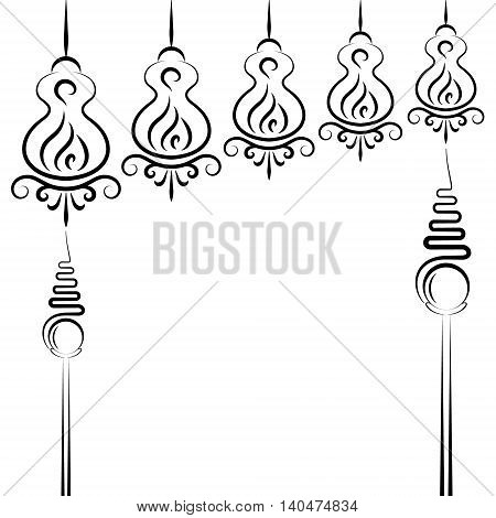Doodle abstract black handdrawn china lights on white background
